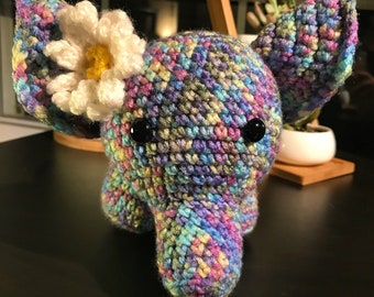 Large Rainbow Elephant Amigurumi