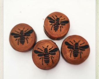 Made to order wood burned bee button