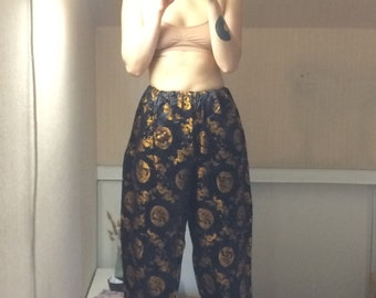 Black vintage inspired Asian tribe pants orange gold 80's / 90 s M