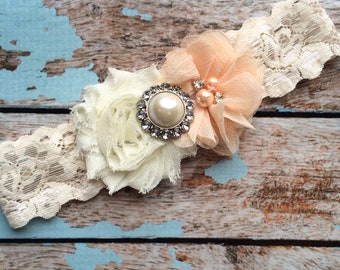 PEACH flower  / IVORY  chiffon / wedding garter set / bridal  garter/  lace garter  /  wedding garter