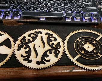 Large Steampunk Gear Set- Elaborate Flourish, Maze Designs, Very Unique