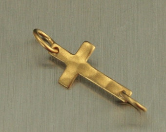 Satin 24K Gold Plated Sterling Silver Hammered Cross Festoon--Cross Link Charm--Holiday Charm--Faith Pendant--Textured Charm--Jesus Cross