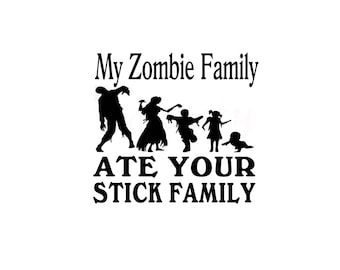 Zombie,Ate Stick Figure,Stick Family,Zombies,Funny Sticker,Decal,Dead,Humor