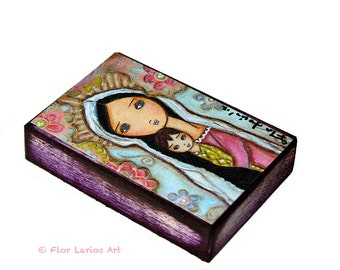 Madonna with Child and Flowers -  Giclee print mounted on Wood (4 x 5 inches) Folk Art  by FLOR LARIOS