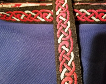 Black red and white woven Celtic knotwork ribbon trim
