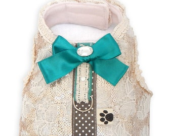 SALE! Harness lace fabric and champagne sequins. Emerald bow. Only size S! Dog accessories