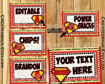 Superman table tent cards Super man tent cards Name cards Place cards Table decorations Superhero birthday Superman food labels 12 PRECUT