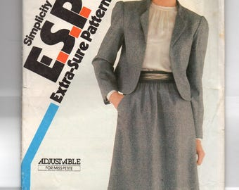 5693 Simplicity Sewing Pattern Semi Fitted Lined Jacket UNCUT Size 6 8 10 Vintage 1980s Factory Folded