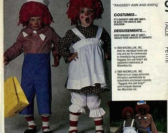 Free Usa Shipping Sewing Pattern McCall's 4097 Adult Costume Raggedy Andy Ann Doll Retro 1980's Men Misses Uncut Halloween Chest 32 34