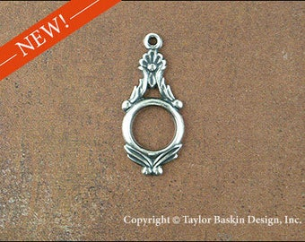 Antiqued Sterling Silver Plated Victorian Earring or Pendant Jewelry Drop (item 2815 AS) - 6 Pieces