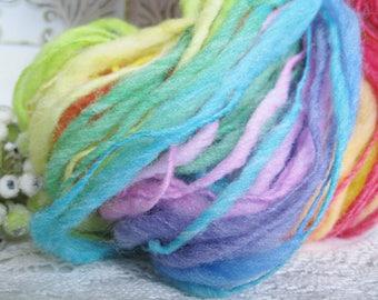 Handspun wool blend thick and thin singles Rainbow joy self striping glow in the dark yarn