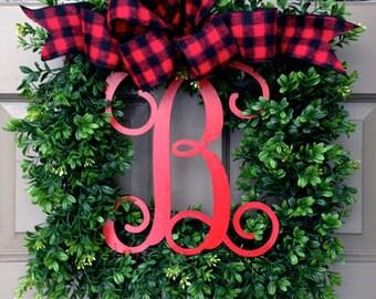 Merry Monogram Wreath (Buffalo Check Bow)