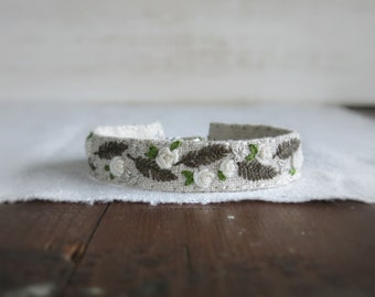 White Roses Cuff Bracelet - White Embroidered Roses on Natural Linen Bracelet