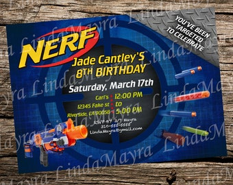 DIGITAL Dart toy gun theme Birthday Party Digital Invitation
