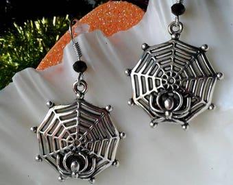 Black Widow Spiders Web Earrings