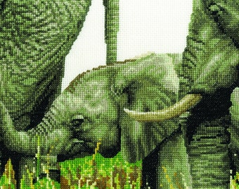 DMC BK1664 Always by my side - Elephant Cross Stitch Kit from the Safari Animals Collection designed by Jayne Netley Mayhew