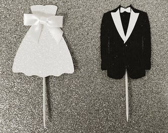 Bride and Groom Toppers, Wedding Dress and Tux Cupcake Toppers, Wedding Toppers, Engagement