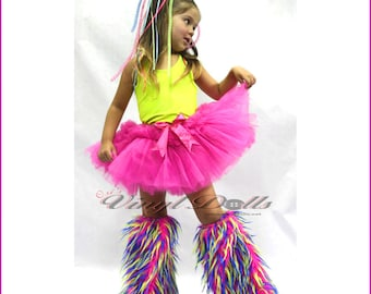Kids size Fluffy Leg Warmers Monster Fluffies Child Dance Wear