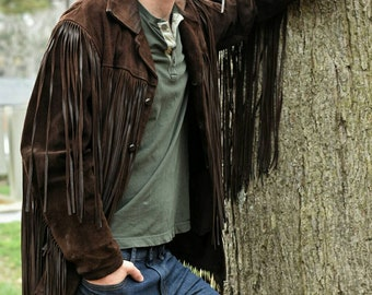 Long fringe leather coat | festival | winter jacket buckskin | hippie coat | 70s | mens leather | fringe coat | 1970s fringe |