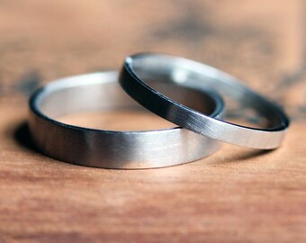 Palladium wedding band set, modern wedding rings, matching wedding bands, alternative wedding bands, unisex wedding band, made to order