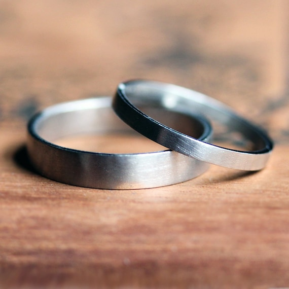 Palladium wedding band set modern wedding rings matching