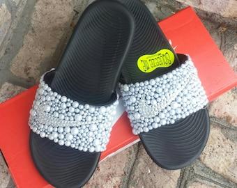 Black Youth Bling Nike Slides - Bedazzled Slides - Girls Custom Nike Kawa Slides - Slides with Pearls - Embellished Nikes - Big kids slides