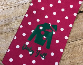 Pink polka dot hand towel with green Jockey Silk, Kentucky Derby hand towel, Derby decor