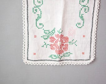 Vintage Hand Embroidered Cross Stitched Bureau Scarf, Crocheted Edge