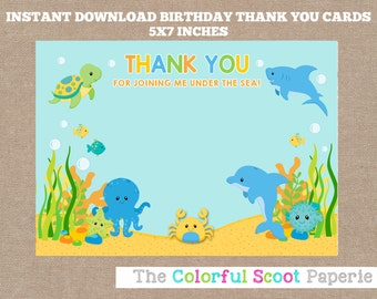Instant Download, Under The Sea Thank You Cards, Under the Sea Thank You Notes, Under the Sea Party Printables, Boy (#591)