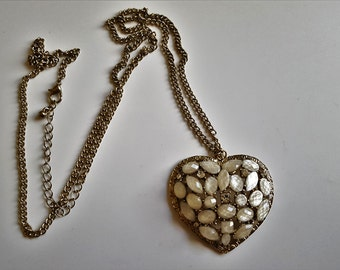 Vintage necklace golden love heart with silver crystals