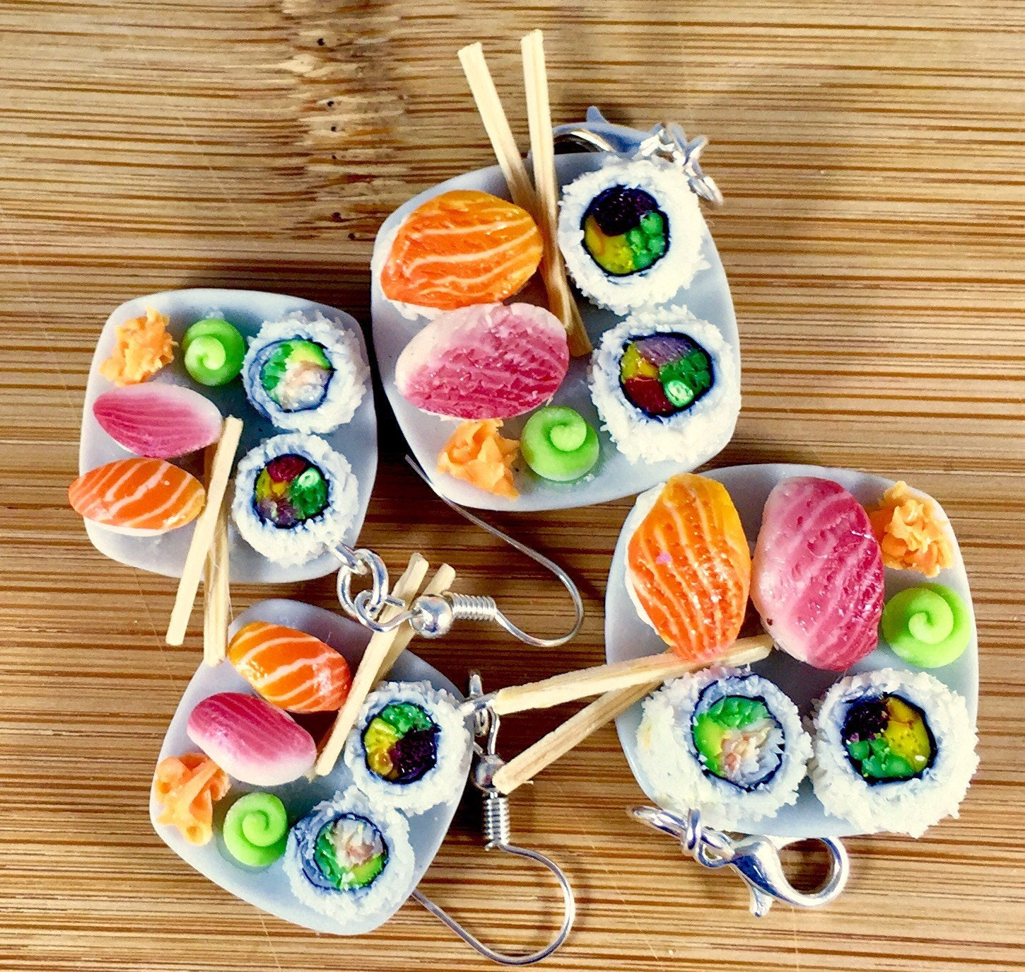 & Polymer clay sushi dinner on a plate charm or key ring/ stitch marker!