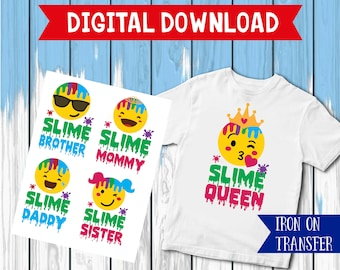 Emoji iron on, Slime queen  iron on, science Shirt diy,  Slime Iron On Transfer, printable, clipart