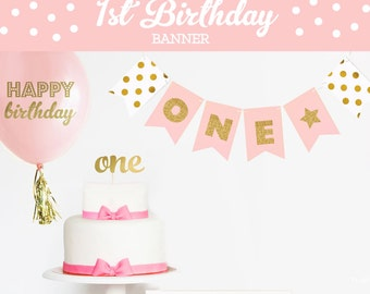 1st Birthday Banner Decor First Birthday Banner ONE Banner Happy 1st Birthday Banner Birthday Bunting 1st Birthday Garland (EB3062)
