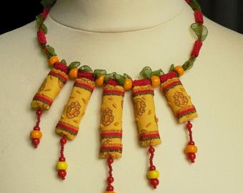 textile necklace original collection spring summer orange geometric design, fabric necklace, handmade textile pendants
