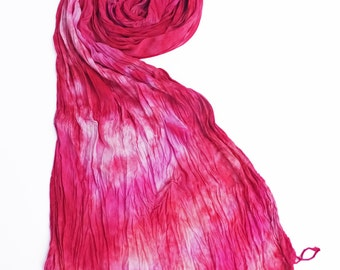 PInk scarf, hot pink scarf, pink crinkle scarf, pink vegan scarf, vegan scarves, fringe scarf, scarf gift wife, scarf gift girlfriend,