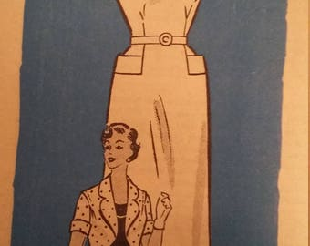 Vintage Mail Order Pattern Anne Adams 4606 size 14-1/2 Sleeveless Dress with Bolero