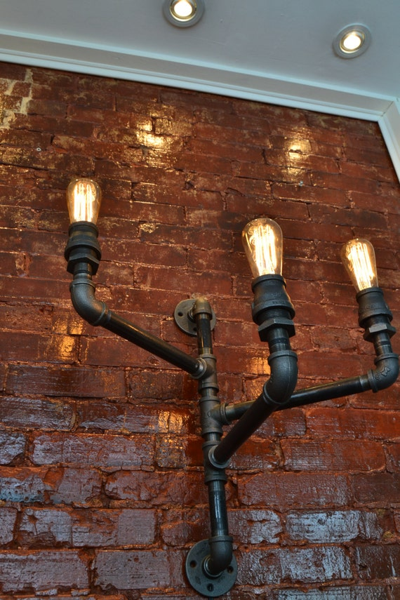 Triple industrial pipe adjustable wall light wall light like this item aloadofball Image collections