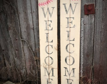 Tall Welcome Baseball Sign
