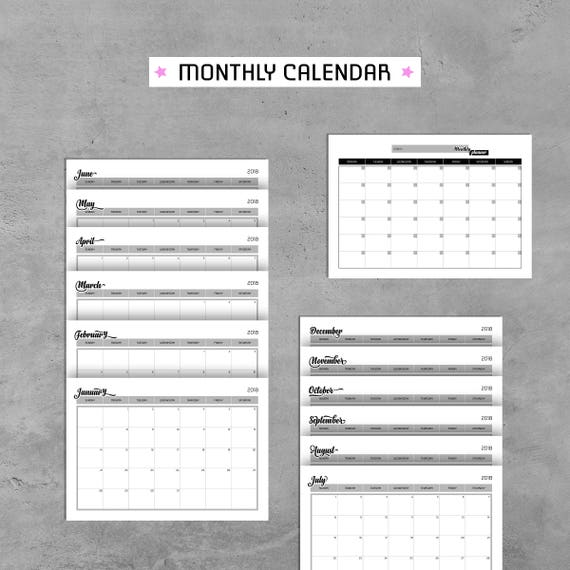 Planer Bundle 2018 druckfähiges PDF tägliche Wochenplaner Log