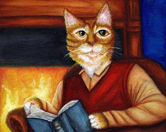 Bookish Cat Art, Orange Cat Reading Book, Fireplace 8x10 Art Print CLEARANCE