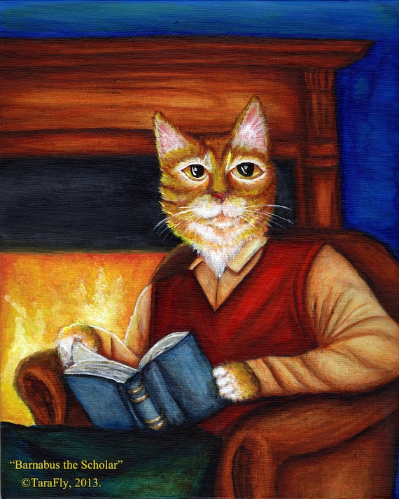 Bookish Cat Art, Orange Cat Reading Book, Fireplace 8x10 Art Print CLEARANCE