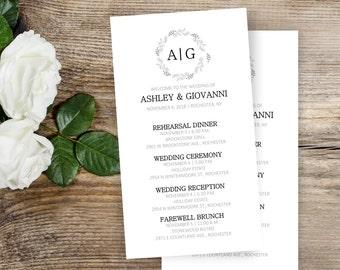 Elegant Wedding Itineraries - 25 Simple Wedding Schedule - Wedding Itinerary Cards - Wedding Ceremony Cards - Printed Schedules - #wdiS-201