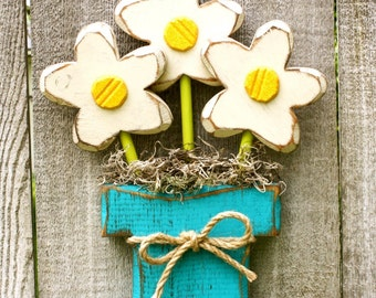 Wood Flowers | Wooden Flowers | Mother's Day Gift | Farmhouse Carved Wood Flower Pot | Teacher Gift | Spring Decor Flowers | Rustic Wood