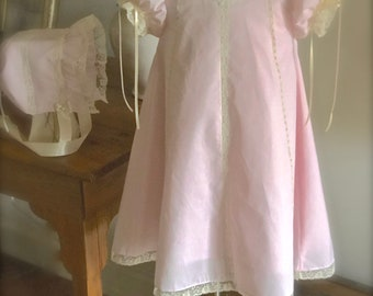 3 Piece Set Baby Girl  A line Dress Slip Bonnet Heirloom Lace Ribbon Keepsake Matching Sister  6 months  to 6 with Matching Bonnet and Slip