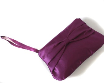 Bridesmaid clutch purple satin with bow and hidden strap