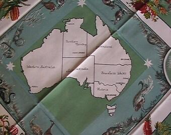 Souvenir tablecloth etsy australia australian colorful vignettes tablecloth new unused condition charming design gumiabroncs Image collections