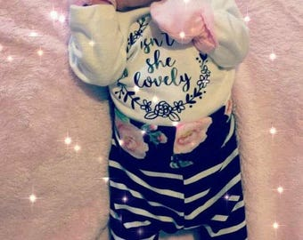 Isn't she lovely, baby girl outfit, floral pants, newborn outfit, hospital outfit, coming home outfit