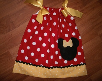 Pillowcase Dress, Summer Dress, Disney, Red with Yellow, Birthday, Gift, Girl Outfit, Children, Kids, Clothes, Minnie Mouse, Toddlers Dress