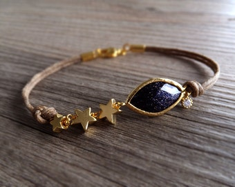 Gold Starry Night Bracelet - Blue Goldstone - Constellation Gift - Galaxy Night Sky - Gift for Her - Women Gift
