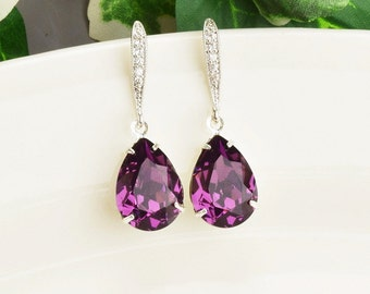 Amethyst Earrings Purple Bridal Earrings Swarovski Crystal Bridesmaid Jewelry Purple Earrings Silver Teardrop Bridesmaids Earrings